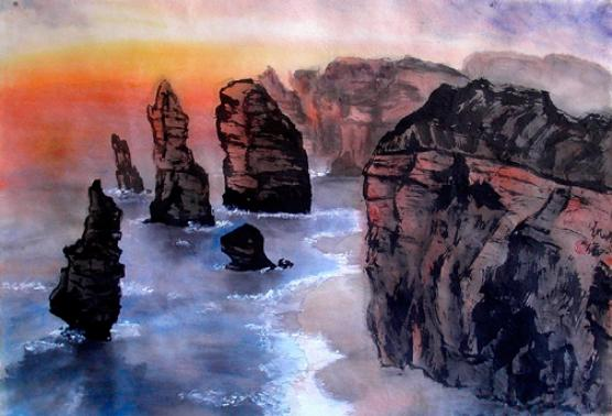 12 Apostles Victoria Coast, Australia.  Watercolors art on rice paper.  Chinese landscape paintings.